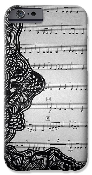 Sheets Drawings iPhone Cases - Musically Talented iPhone Case by Kristen Hofmeister