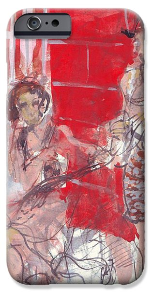 Waiter Drawings iPhone Cases - Musicians on Chartres Street I iPhone Case by Edward Ching
