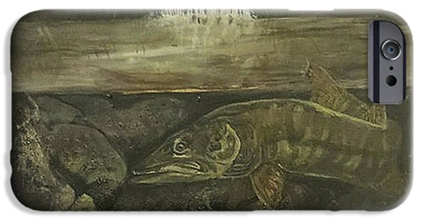Musky Paintings iPhone Cases - Muskellunge iPhone Case by Fallon Franzen