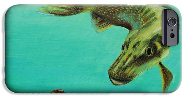 Marine iPhone Cases - Muskie and the Lure iPhone Case by Jeanne Fischer