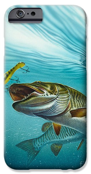 Musky Paintings iPhone Cases - Muskie Troll iPhone Case by Jon Q Wright