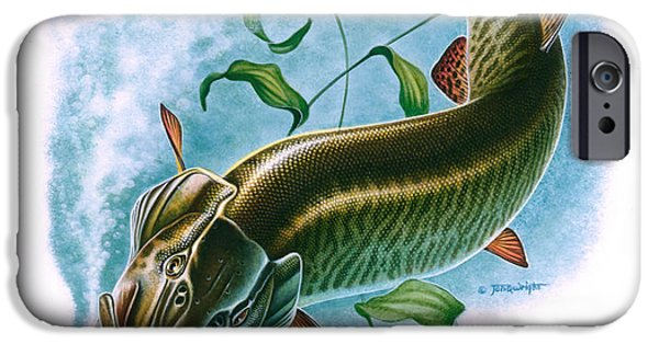 Musky Paintings iPhone Cases - Musky Vignette iPhone Case by Jon Q Wright