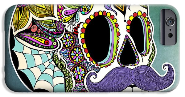 Mustaches iPhone Cases - Mustache Sugar Skull iPhone Case by Tammy Wetzel