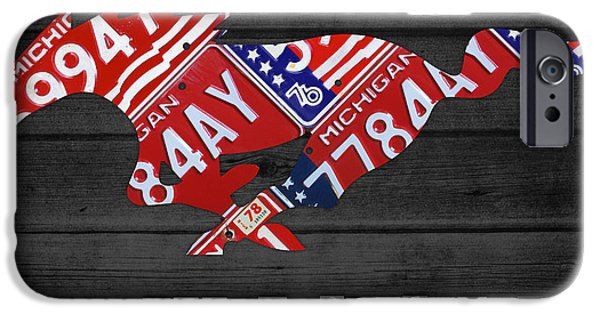 Mustang iPhone Cases - Mustang An American Original License Plate Art iPhone Case by Design Turnpike