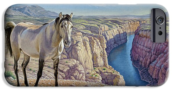 Wild Horse iPhone Cases - Mustang at Bighorn Canyon iPhone Case by Paul Krapf