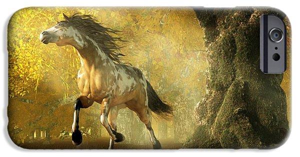 Overo iPhone Cases - Mustang Autumn iPhone Case by Daniel Eskridge