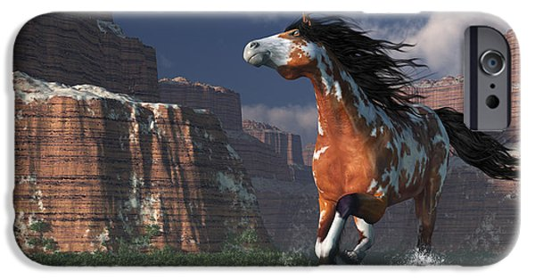 Horse Racing Digital Art iPhone Cases - Mustang Canyon iPhone Case by Daniel Eskridge
