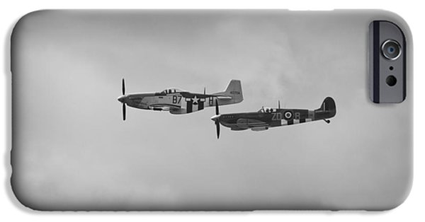 Ferocious Frankie iPhone Cases - Mustang P-51D and Spitfire iPhone Case by Maj Seda