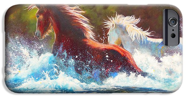 Chatham iPhone Cases - Mustang Splash iPhone Case by Karen Kennedy Chatham