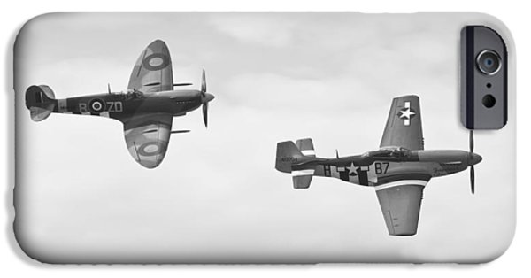 Ferocious Frankie iPhone Cases - Mustang vs Spitfire iPhone Case by Maj Seda