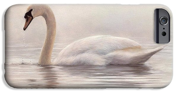 Muted iPhone Cases - Mute Swan Painting iPhone Case by Rachel Stribbling