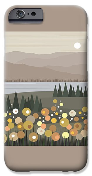 River View iPhone Cases - Muted Landscape iPhone Case by Val Arie