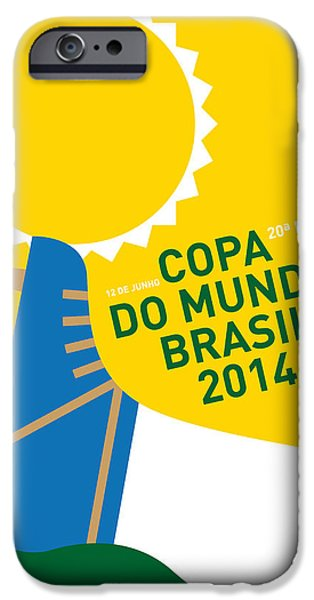 Brasil iPhone Cases - My 2014 World Cup Soccer Brazil - Rio Minimal Poster iPhone Case by Chungkong Art