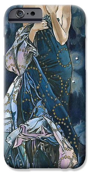 Goddess Of Liberty iPhone Cases - My Acrylic Painting As An Interpretation Of The Famous Artwork Of Alphonse Mucha - Moon - iPhone Case by Elena Yakubovich