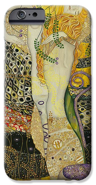 Recently Sold -  - Serpent iPhone Cases - My acrylic painting as an interpretation of the famous artwork of Gustav Klimt - Water Serpents I iPhone Case by Elena Yakubovich