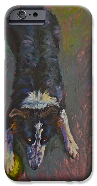 Dog With Ball iPhone Cases - MY Ball iPhone Case by Elaine Hurst
