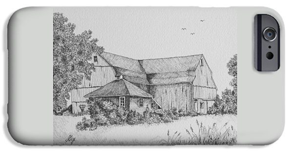 Shed Drawings iPhone Cases - My Barn iPhone Case by Gigi Dequanne