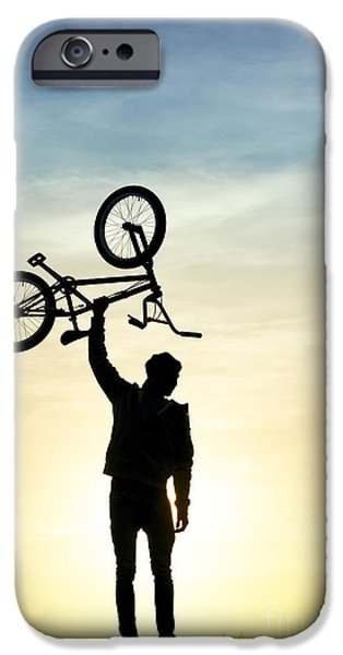 Young Man Photographs iPhone Cases - BMX Biking iPhone Case by Tim Gainey