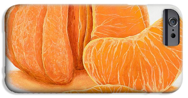 Tangerine Paintings iPhone Cases - My Clementine iPhone Case by Garry McMichael