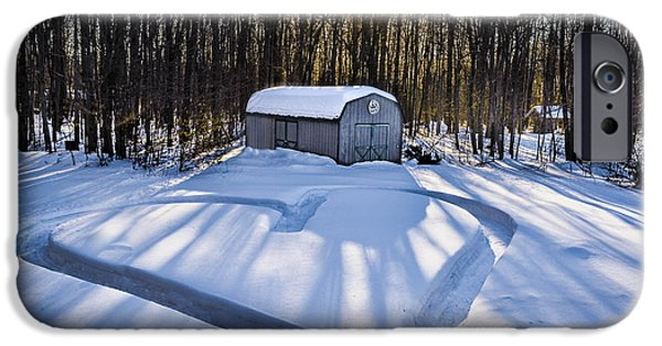 Old Barn Drawing iPhone Cases - My Dog Trail Run iPhone Case by Gary Keesler