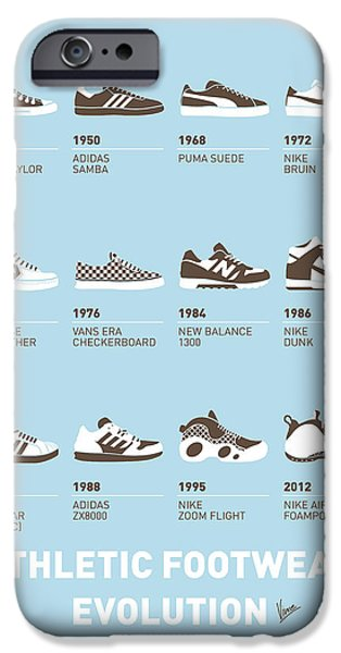 Surfer iPhone Cases - My Evolution Sneaker minimal poster iPhone Case by Chungkong Art