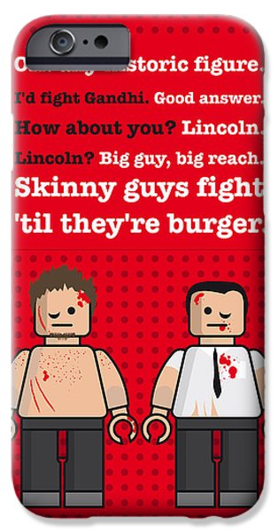 Fight Digital iPhone Cases - My Fight club lego dialogue poster iPhone Case by Chungkong Art