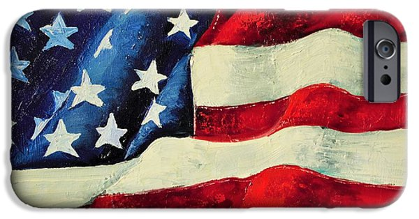 Old Glory Paintings iPhone Cases - My Flag iPhone Case by Jodi Monahan
