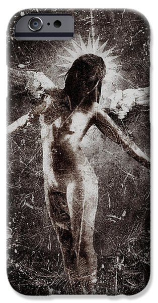 Night Angel Mixed Media iPhone Cases - My Fragile Wings iPhone Case by Jarno Lahti