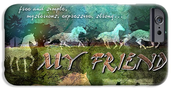 Horse Digital Art iPhone Cases - My Friend Horses iPhone Case by Evie Cook