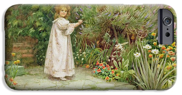 Young Paintings iPhone Cases - My Garden iPhone Case by William Ashburner