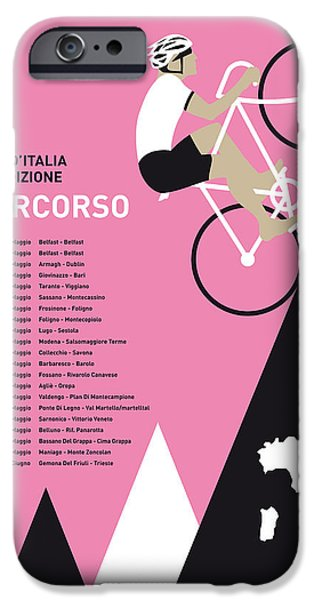 Graphic Design iPhone Cases - My Giro D Italia Minimal Poster 2014-percoso iPhone Case by Chungkong Art