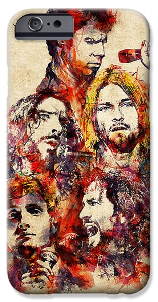 Pearl Jam iPhone Cases - My Grunge Heroes watercolor iPhone Case by Marian Voicu