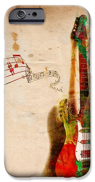 Melody Digital Art iPhone Cases - My Guitar Can SING iPhone Case by Nikki Smith
