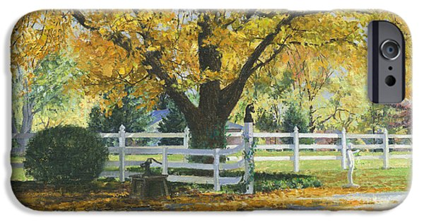 Autumn Scenes Paintings iPhone Cases - My House iPhone Case by Don  Langeneckert