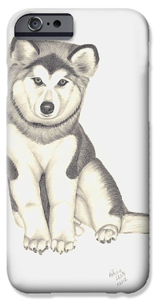 Husky Drawings iPhone Cases - My Husky Puppy-Misty iPhone Case by Patricia Hiltz