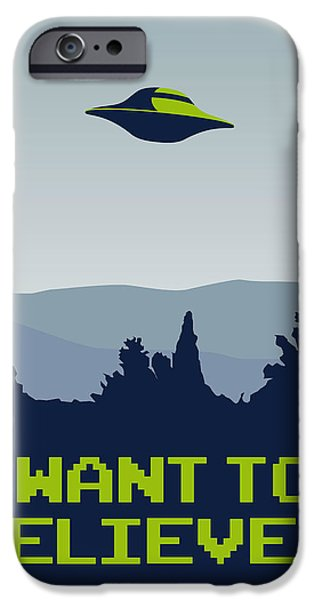 Fox Digital iPhone Cases - My I want to believe minimal poster iPhone Case by Chungkong Art