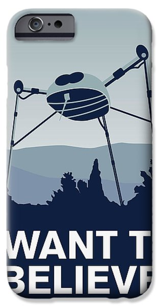 Xwing iPhone Cases - My I want to believe minimal poster-war-of-the-worlds iPhone Case by Chungkong Art
