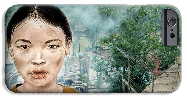 Ruin iPhone Cases - My Kuiama a Young Vietnamese Girl Version II iPhone Case by Jim Fitzpatrick