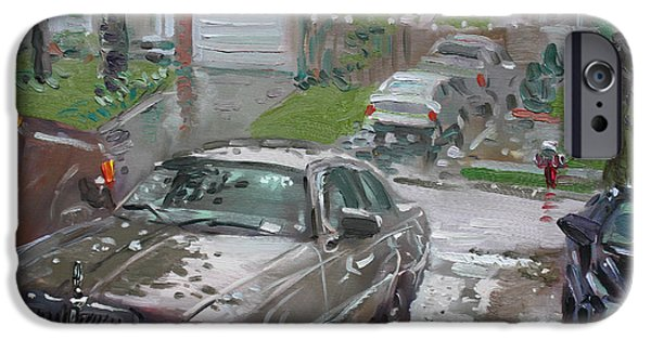 Town iPhone Cases - My Lincoln in the Rain iPhone Case by Ylli Haruni