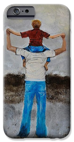 Bonding Paintings iPhone Cases - My Little Man iPhone Case by Leslie Allen
