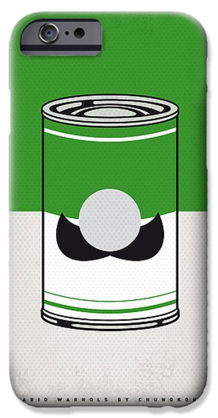 Power iPhone Cases - My Mario Warhols Minimal Can Poster-luigi iPhone Case by Chungkong Art