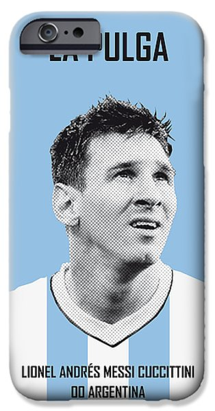 Germany iPhone Cases - My Messi soccer legend poster iPhone Case by Chungkong Art