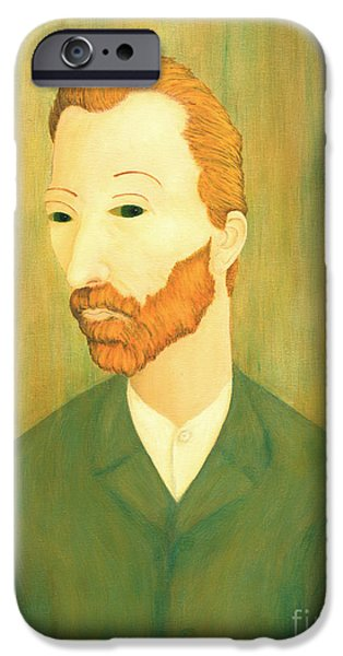 Mental Paintings iPhone Cases - My Modigliani Style Vincent Van Gogh iPhone Case by Jerome Stumphauzer