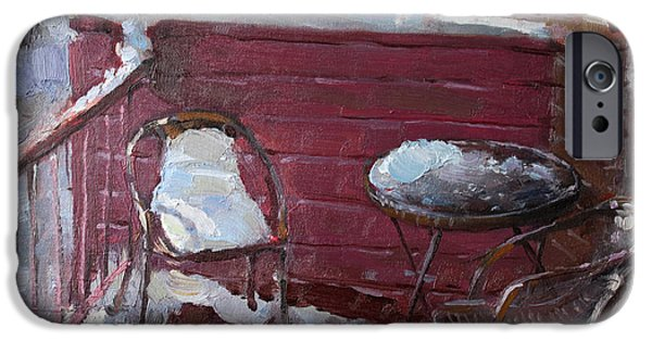 Winter Landscape Paintings iPhone Cases - The Neighbors iPhone Case by Ylli Haruni