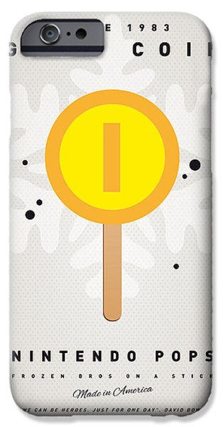 Mushrooms iPhone Cases - My NINTENDO ICE POP - Gold Coin iPhone Case by Chungkong Art