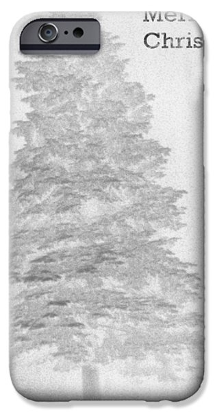 Reverse Art iPhone Cases - My Norman Rockwell Living Christmas Tree - Black and White iPhone Case by James Scott Preston