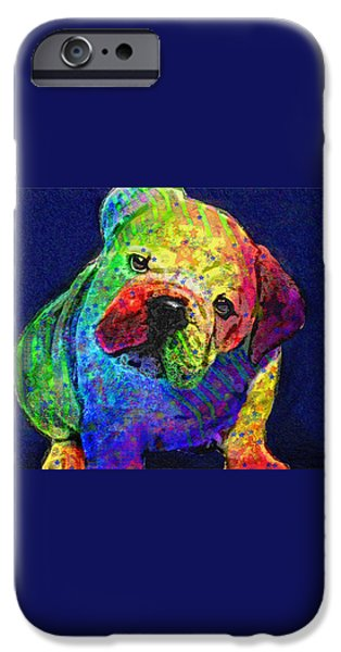 my psychedelic bulldog iPhone Case by Jane Schnetlage