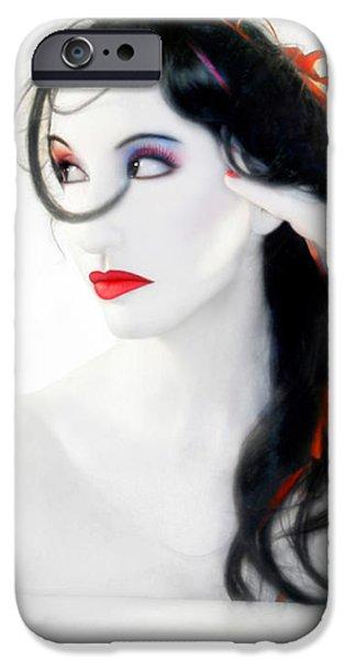 Artsy iPhone Cases - My Red Melancholy - Self Portrait iPhone Case by Jaeda DeWalt
