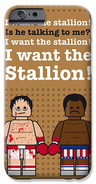 Fight Digital iPhone Cases - My rocky lego dialogue poster iPhone Case by Chungkong Art