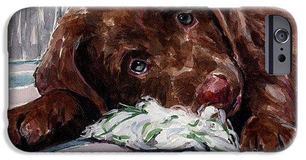 Labrador Puppy iPhone Cases - My Rope Toy iPhone Case by Molly Poole